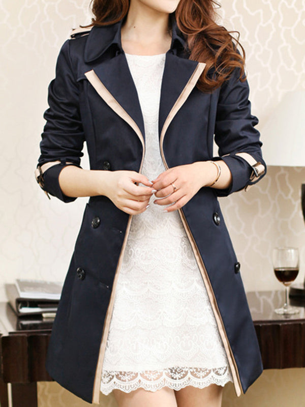 Women's Winter Lapel Double Breasted Jacket Long Trench Coat Pea Coat With Belt