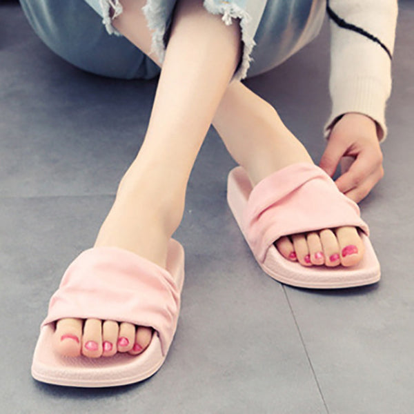 Women Casual Summer Cloth Flat Heel Ruffles Sandals