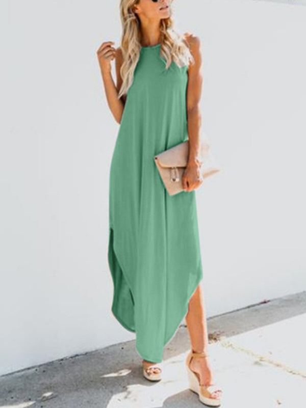 Casual Sleeveless Round Neck Dresses