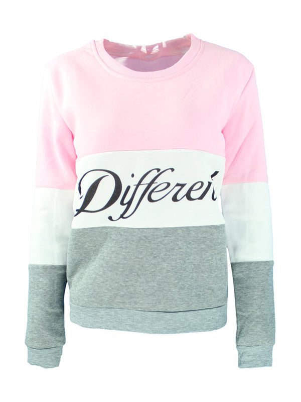 Letter Casual Color-Block Long Sleeve Sweatshirt