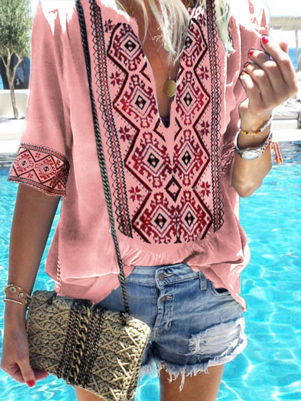 Tribal Half Sleeve Casual Blouse