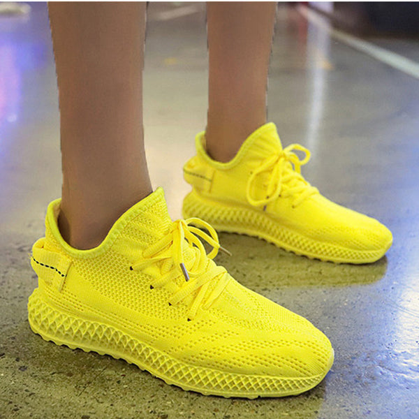 Knitted Fabric Super Breathable Sports Running Sneakers
