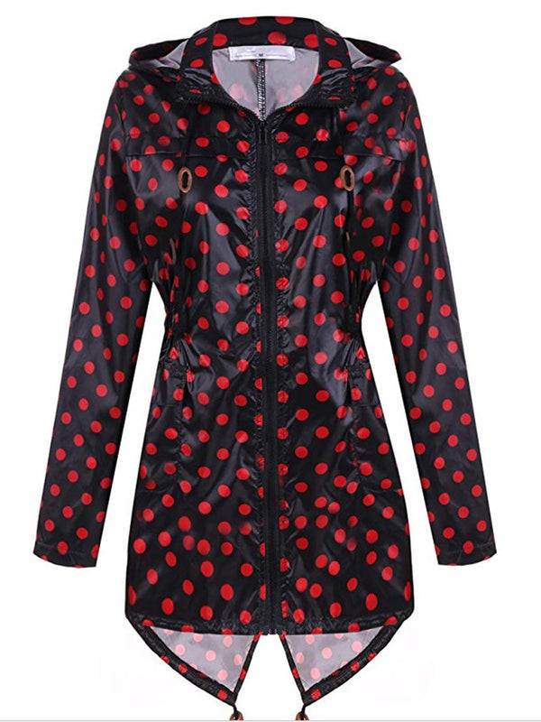 Polka Dots Zipper Hoodie Casual Trench Coats