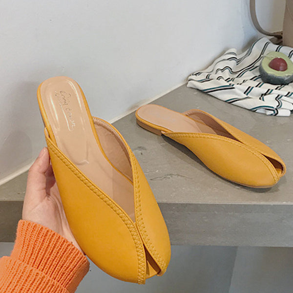 Round Toe Flat Slippers Women