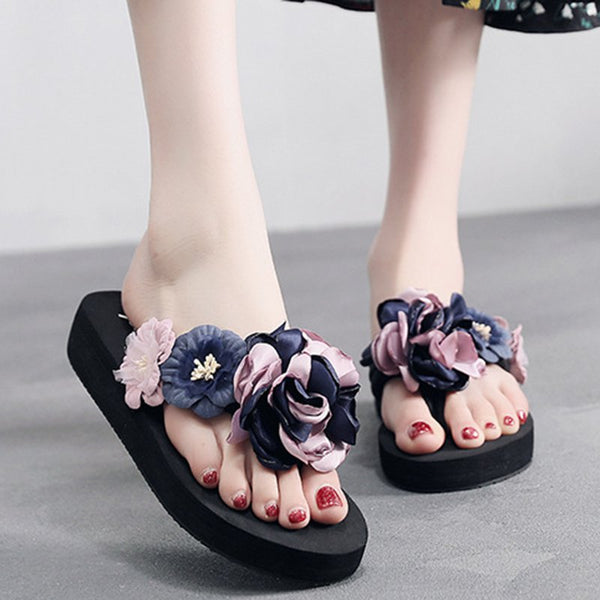 Flower Casual Wedge Flip Flop Slippers Women