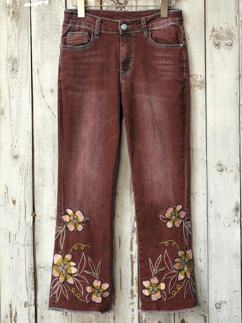 Women Casual Denim Floral Vintage Holiday Pockets Zipper Pants