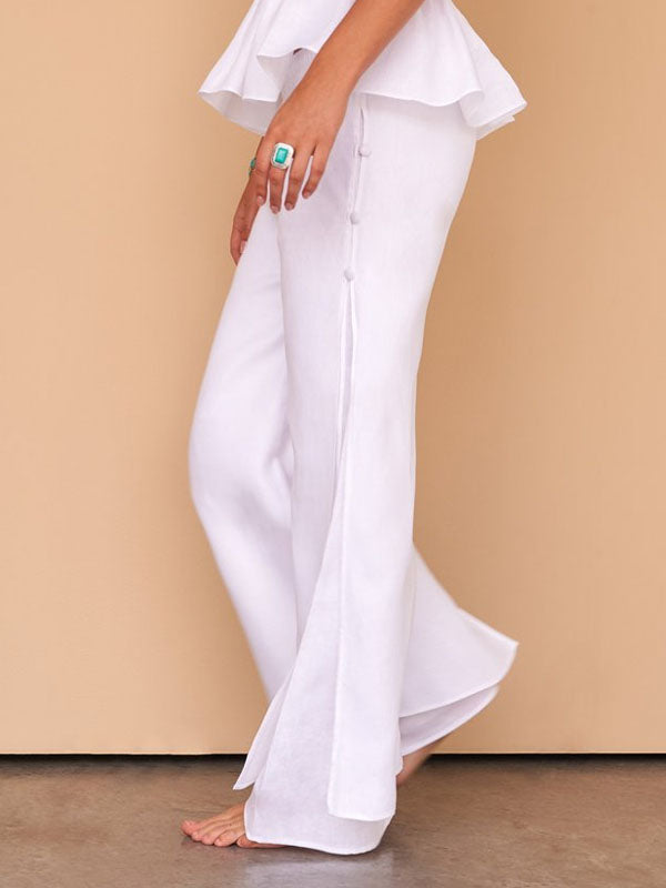 White Solid Casual Cotton-Blend Bottoms