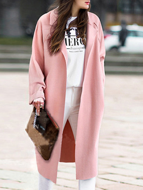 Long Sleeve Turn-Down Collar Casual Solid Coat