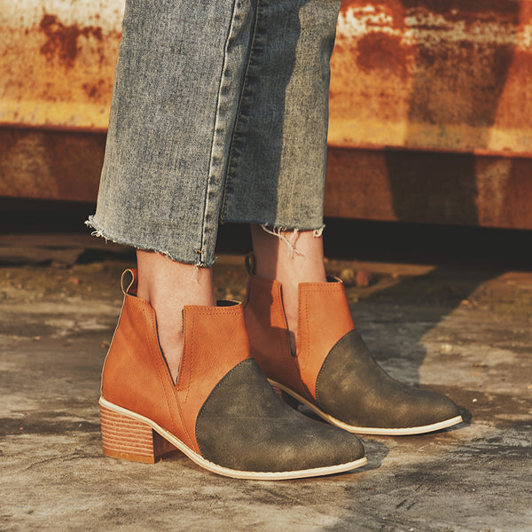 Chunky Heel Slip-On Ankle Booties Casual All Season Boots