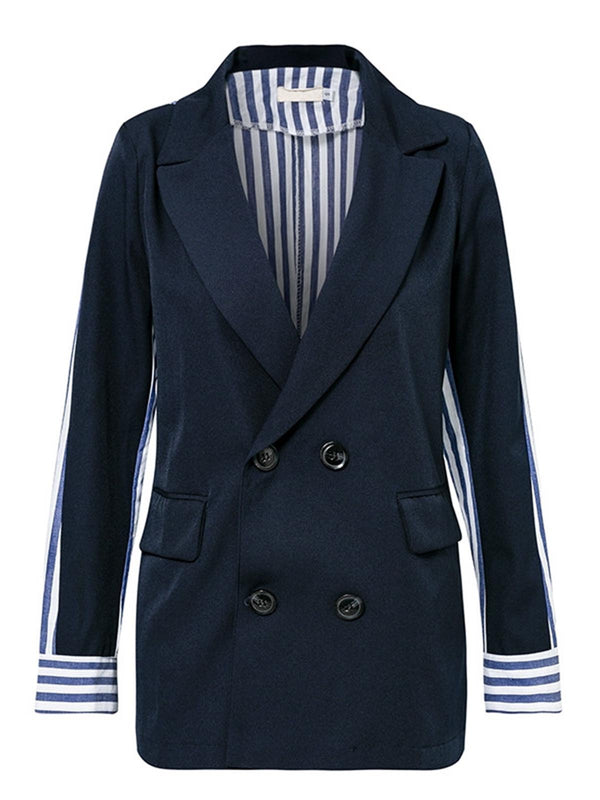 Casual Buttoned Lapel Striped Trench Coat