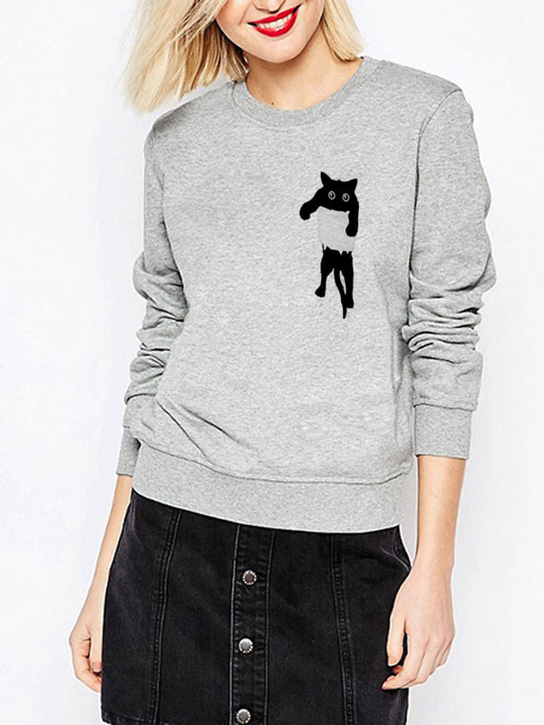 Meow Paneled Cute Long Sleeve Women's Fall/Autumn Sweatshirts