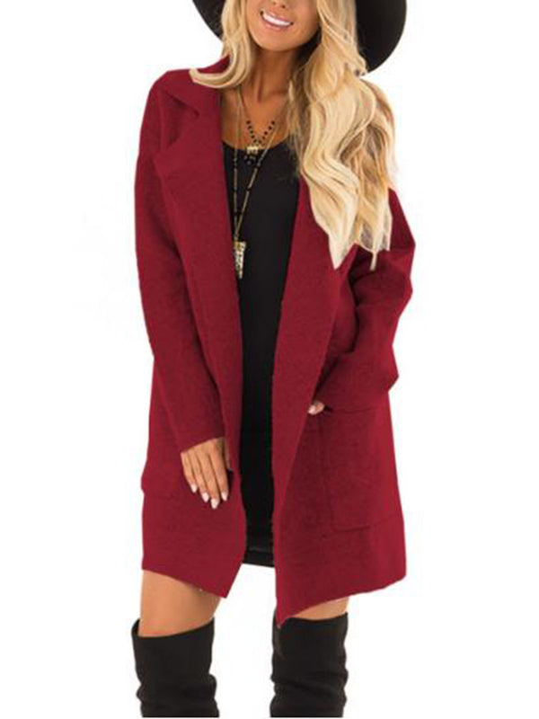 Lapel Collar Pocket Casual Coat