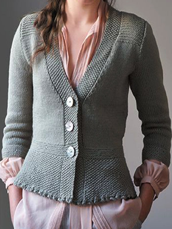 Plus Size Buttoned Casual V Neck Outerwear