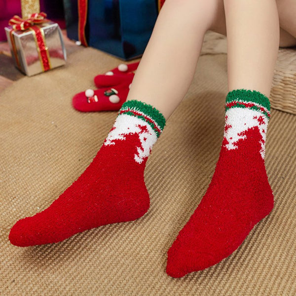 Women Coral Fleece Christmas Socks