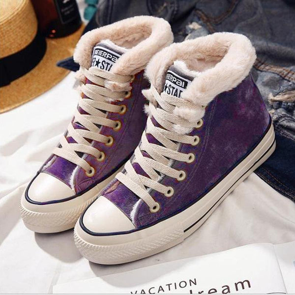 Roselinlin Womens Canvas Snow Sneakers Fur Lined Shoes