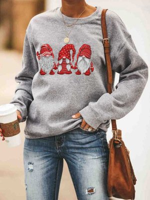Women Gray Long Sleeve Round Neck Christmas Snowman Sweatshirt