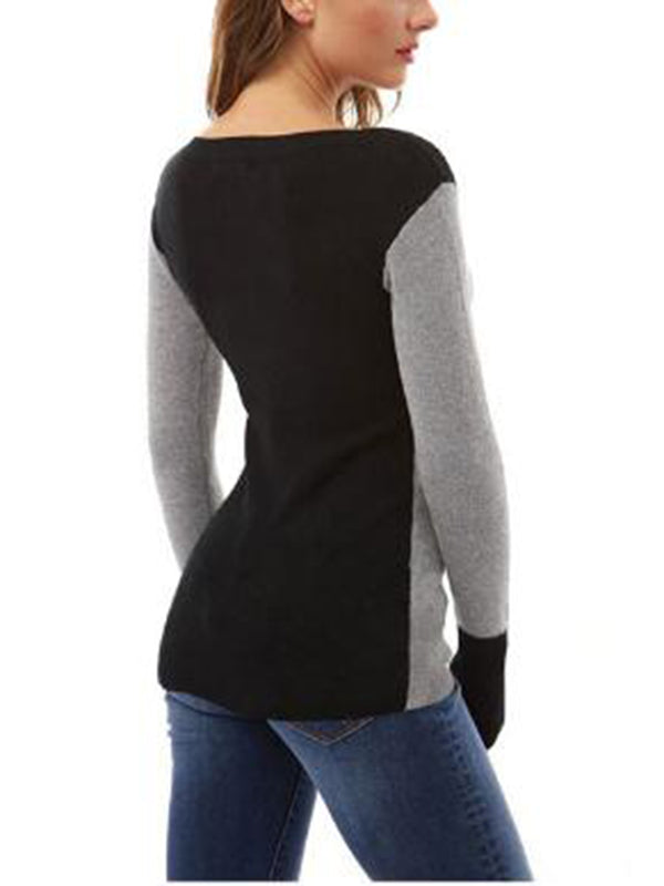 Casual Long Sleeve Patchwork Sweatershirt
