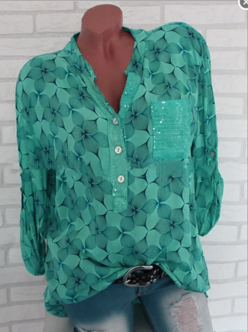 Long Sleeve Chiffon Abstract Stand Collar Printed/Dyed Blouse
