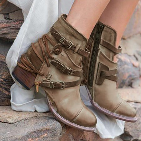 Women Vintage Booties Casual Comfort Plus Size Shoes