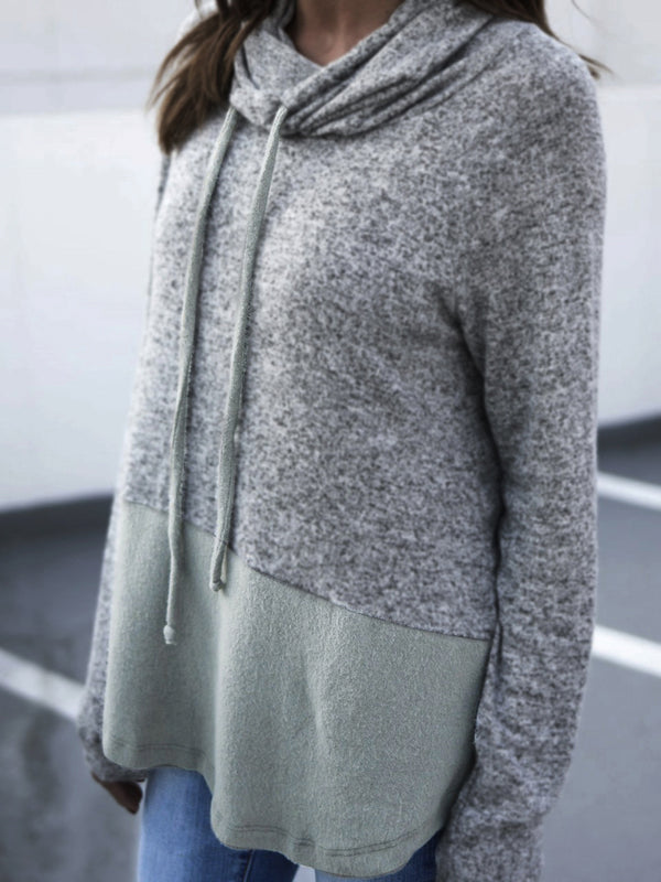 Gray Long Sleeve Paneled Hoodie Solid Casual Hoody
