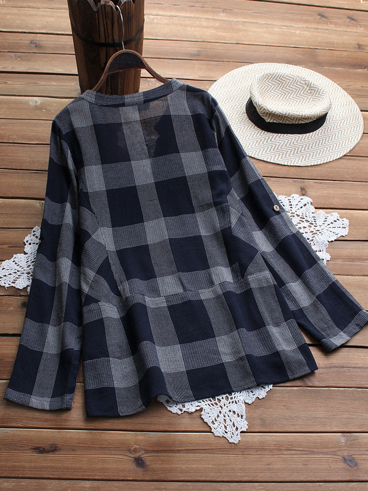 Women Casual Long Sleeve Checker Tops