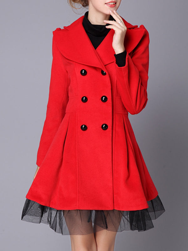 Buttoned Casual A-line Long Sleeve Wool-Blend Pea Coat