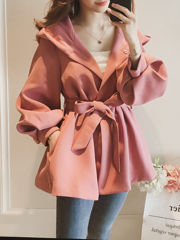 Balloon Sleeve Plain Pockets H-line Casual Coat with Belt