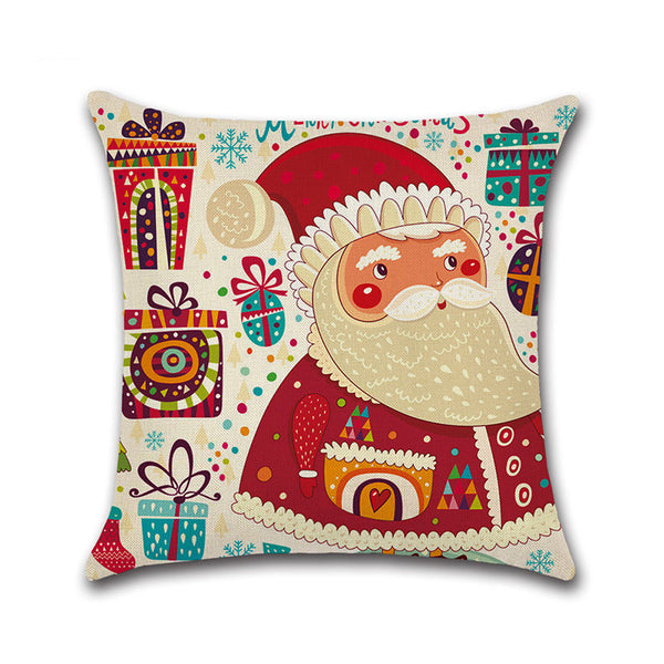 Christmas Santa Claus Cotton Linen Cushion Cover Sofa Home Festival Decorative Pillowcase