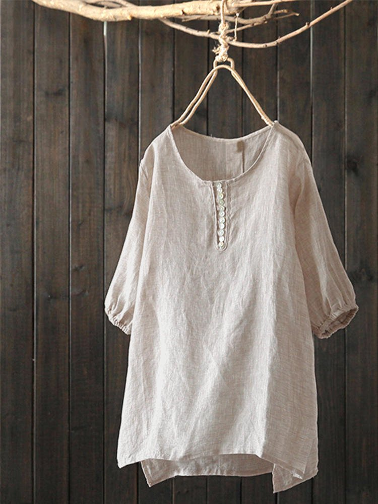 Crew Neck Buttoned Short Sleeve Blouse