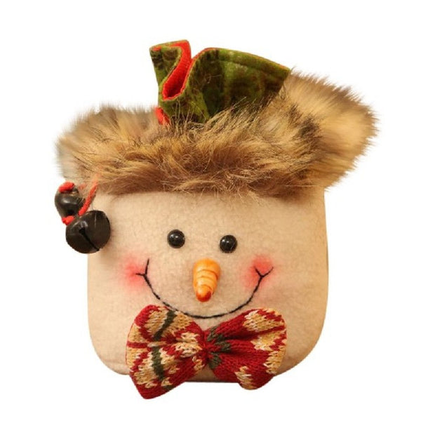 Hot Sale Cute Christmas Gift Candy Bags Santa Claus Snowman Elk Fluffy Storage Bag Jewelry Supplies