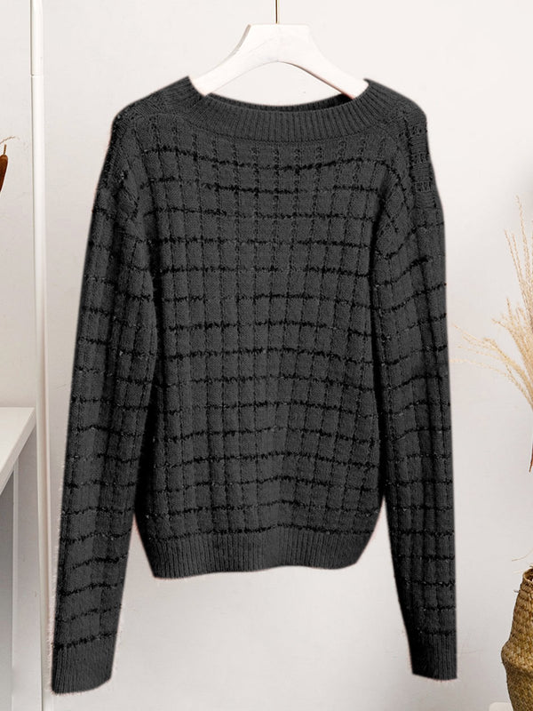 Casual Shift Knitted Crew Neck Sweater