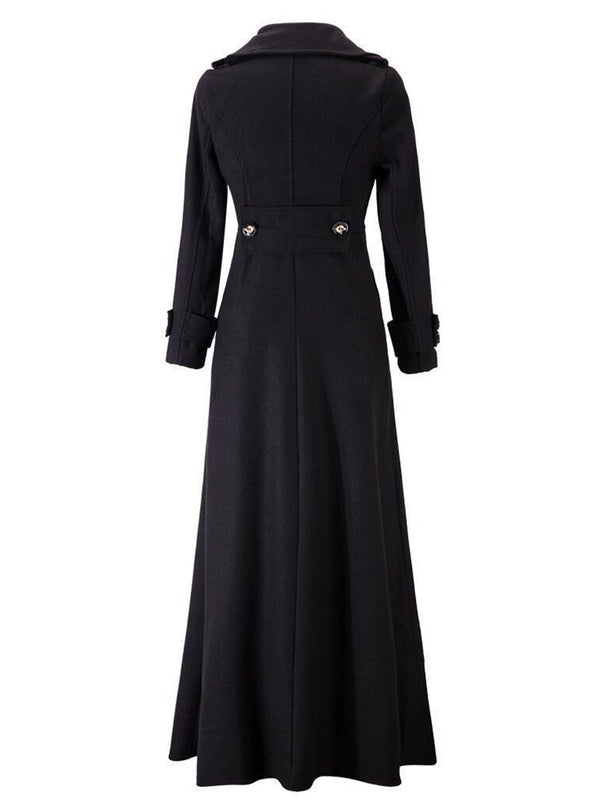 Elegant Lapel Collar Maxi Coat