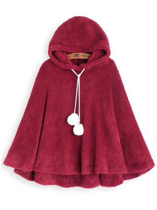 Red Hoodie Sweet Cape Sleeve Cloak Coat