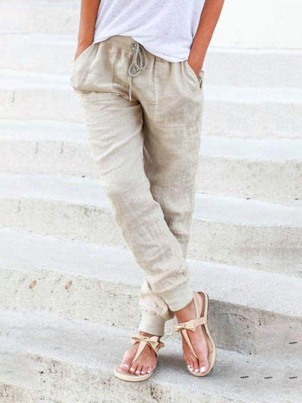 Women Solid Shift Bottoms Casual Linen Pants