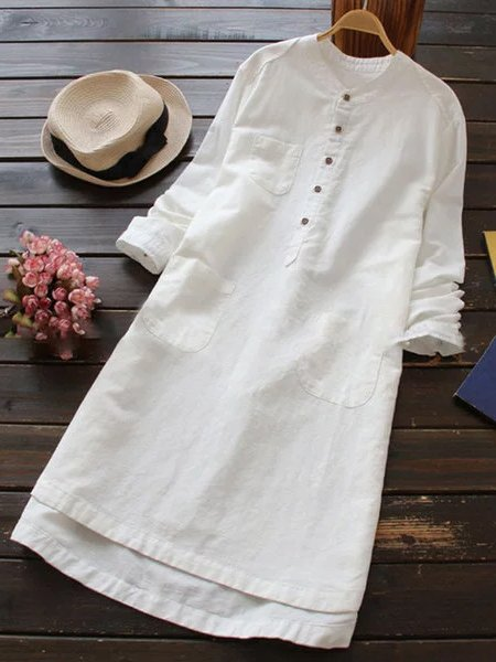 Casual Buttoned Stand Collar Dresses