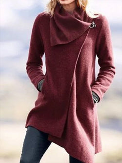 Women Asymmetrical Long Sleeve Cowl Neck Casual Outerwear