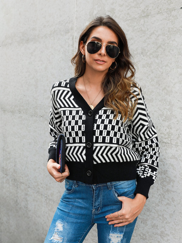 Long Sleeve Knitted Geometric Outerwear