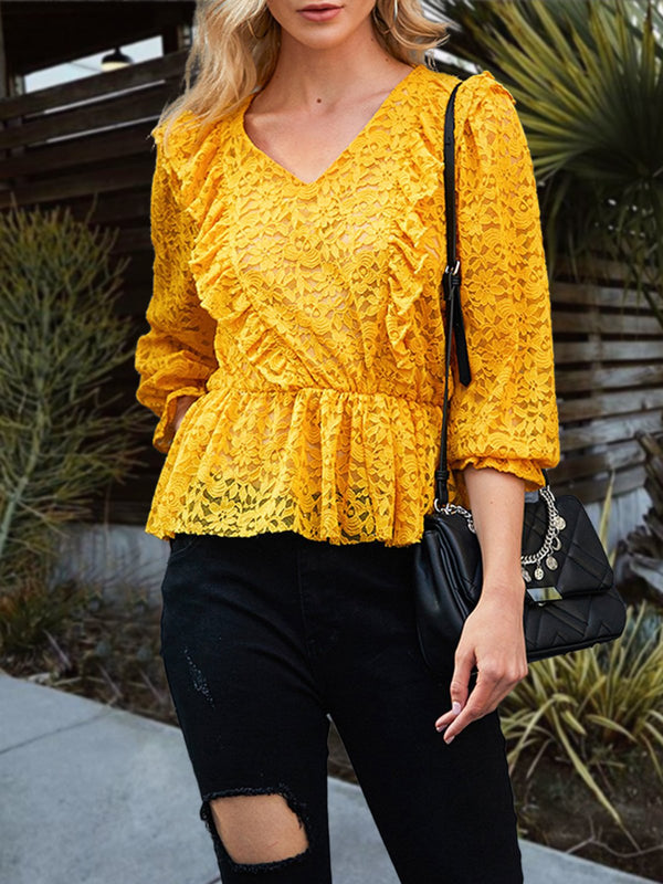 Yellow Long Sleeve V Neck Floral Shirts & Tops