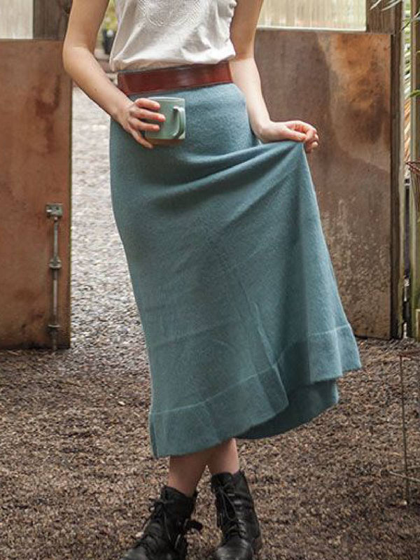 Blue Casual Knitted Skirts
