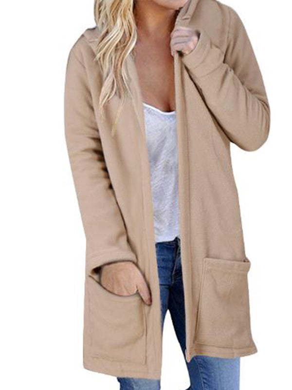 Solid Plain Hooded Casual Coat