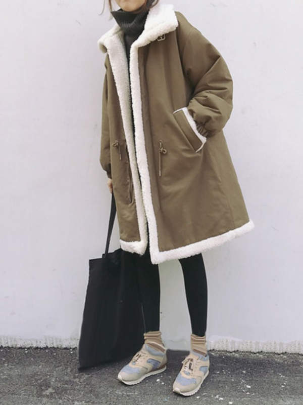 Vintage Warm Long Sleeve Pockets Stand Collar Coat