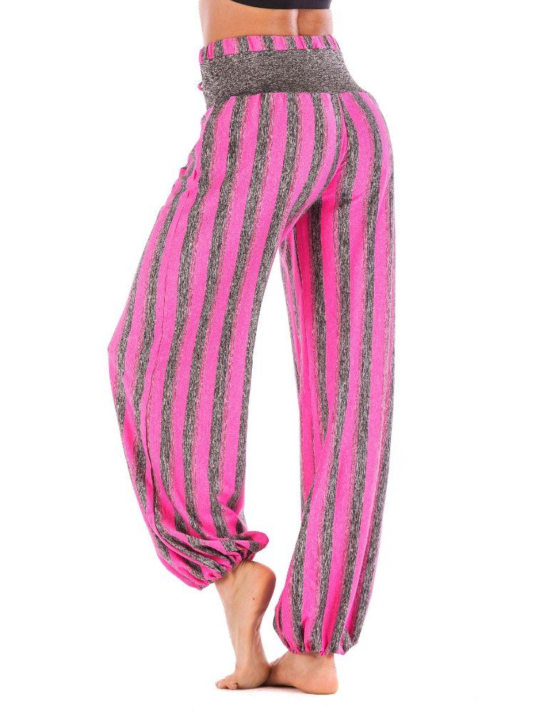 Women Casual Athletic Solid Sweet Vintage Paneled Striped Cotton Pants