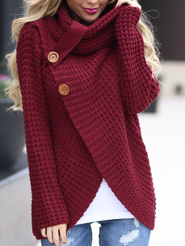 Casual Knitted Solid Buttoned Thin Sweater