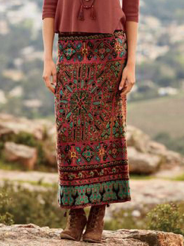 Multicolor Casual Cotton-Blend Skirts
