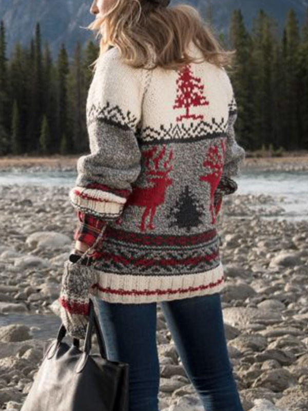 Women Casual Shift Floral-Print Knitted Christmas Sweaters