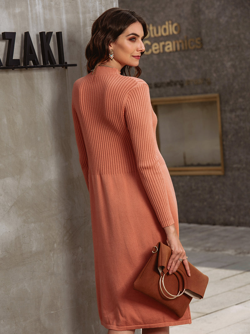 Long Sleeve Stand Collar Casual Plain Dresses