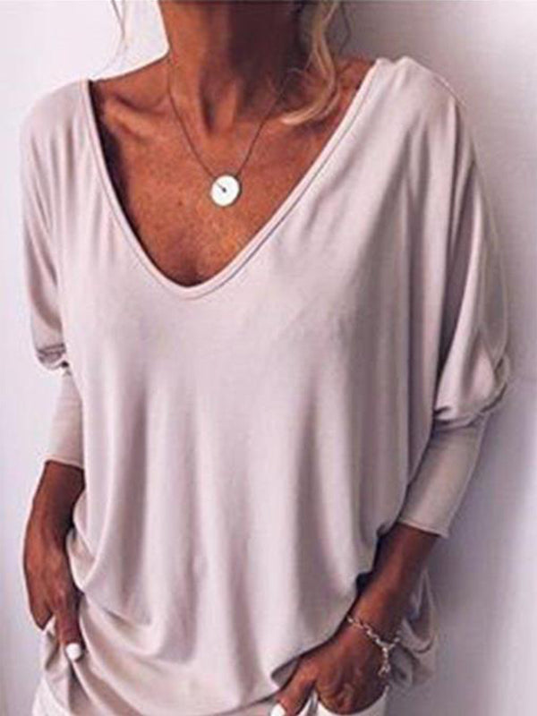 Solid V Neck Long Sleeve Buttoned Shirts & Tops