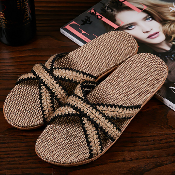 Women Summer Linen Braided Flat Heel Sandals