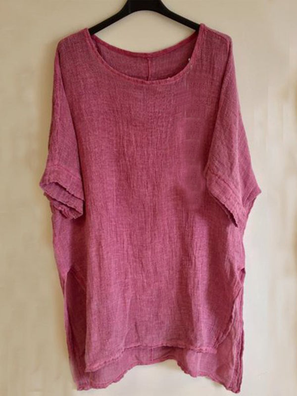 Cotton-Blend Short Sleeve Cozy Tops