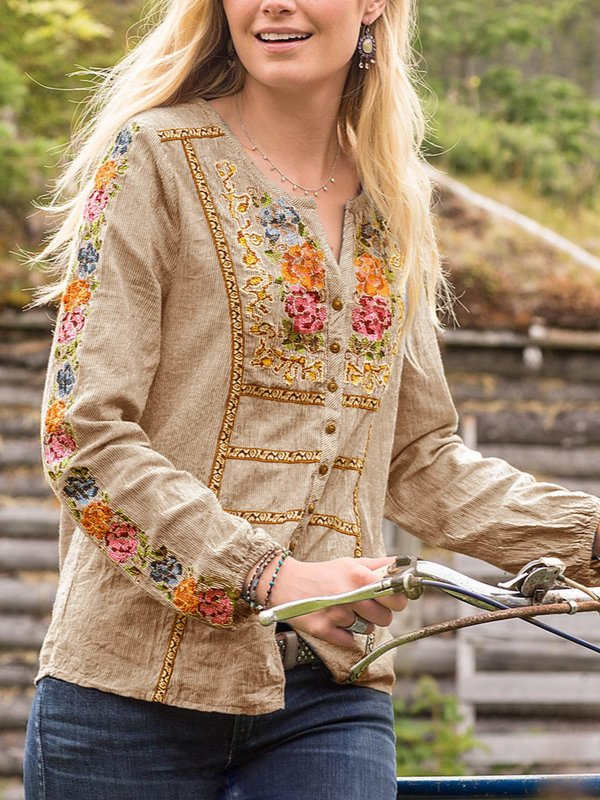 V Neck Long Embroidery Sleeve Shirts & Tops